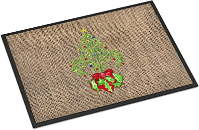 Christmas Tree Fleur de lis Indoor or Outdoor Mat 24x36 Doormat