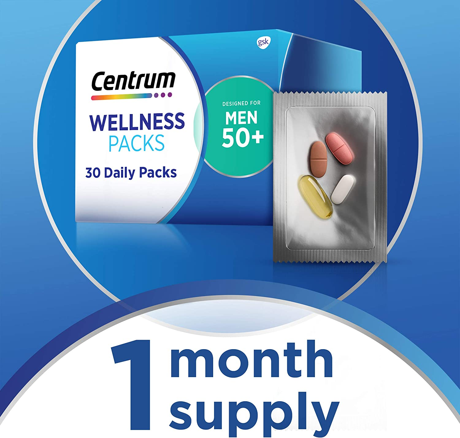 Centrum Wellness Packs Daily Vitamins for Men in Their 50s, Mens Vitamins with Complete Multivitamin, Calcium Carbonate 600mg with Vitamin D3, Fish Oil 1200mg with Omega-3, MSM 1000mg - 30 Packs