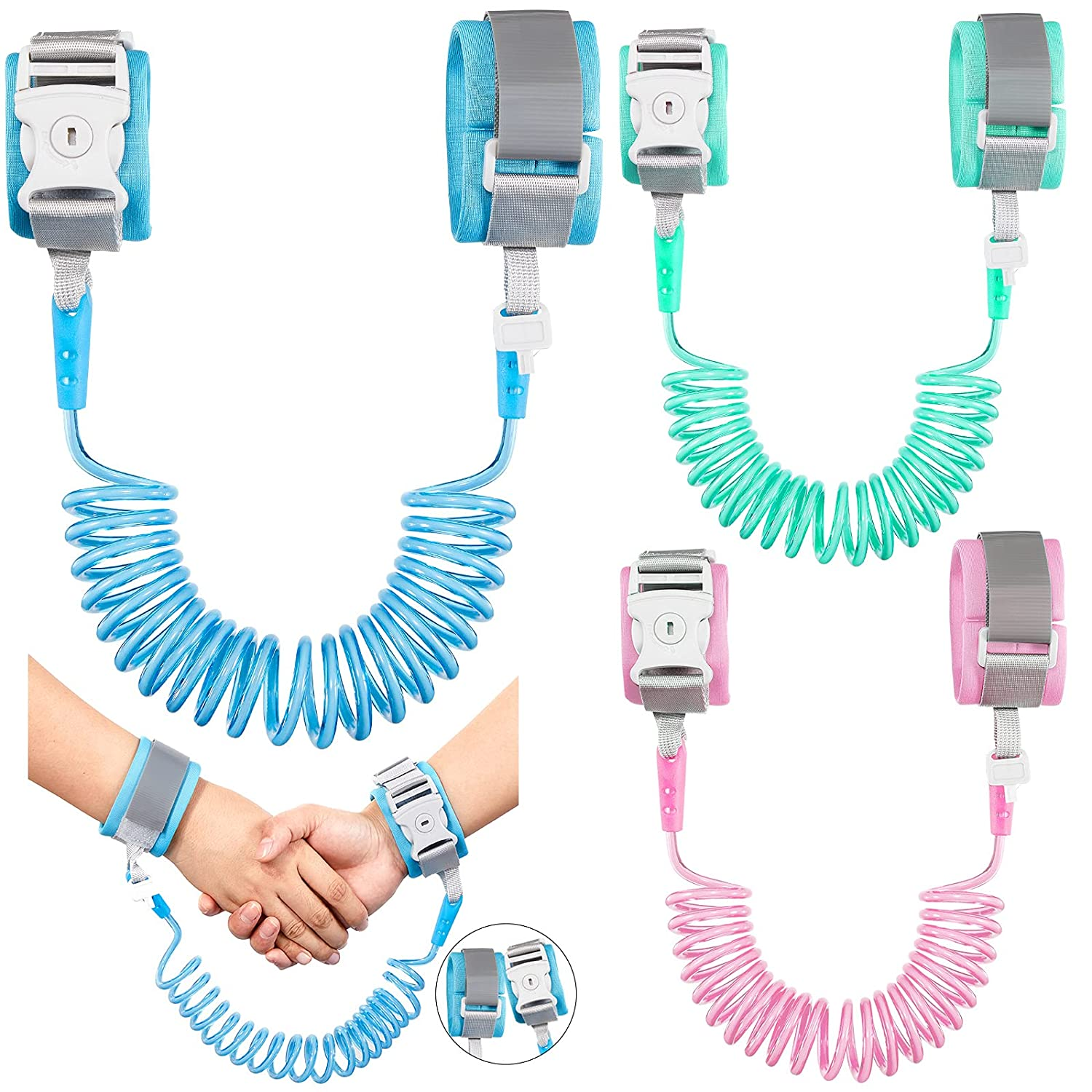 3 Pieces Toddler Leash Kid Leash Anti Lost Wrist Leash Adjustable Breathable Wrist Link with Key Lock Baby Leash with Child Safety Wristband Rope Safety Belt Locks for Kids Baby Toddler Child, 3 Color