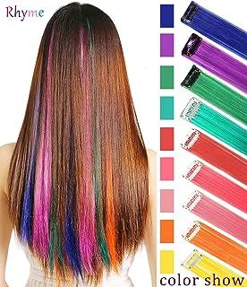 Rhyme 20 '' 9 قطعه های مهمی برجسته موهای رنگی کلیپ در / روشن مخصوص دختران و عروسک تکه های کلاه گیس مخصوص لوازم جانبی مو برای دختران دخترانه (رنگین کمان)