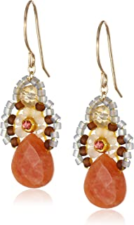 Miguel Ases Orange Jade and Created Quartz Drop Earrings, 1.4""