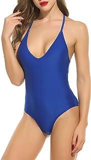 ADOME Women One Piece Swimsuit V Neck Bathing Suits Lace up Backless Monokini Swimwear