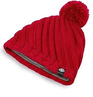 Evony Womens Ribbed Pom Beanie Hat with Warm Fleece Lining - One Size