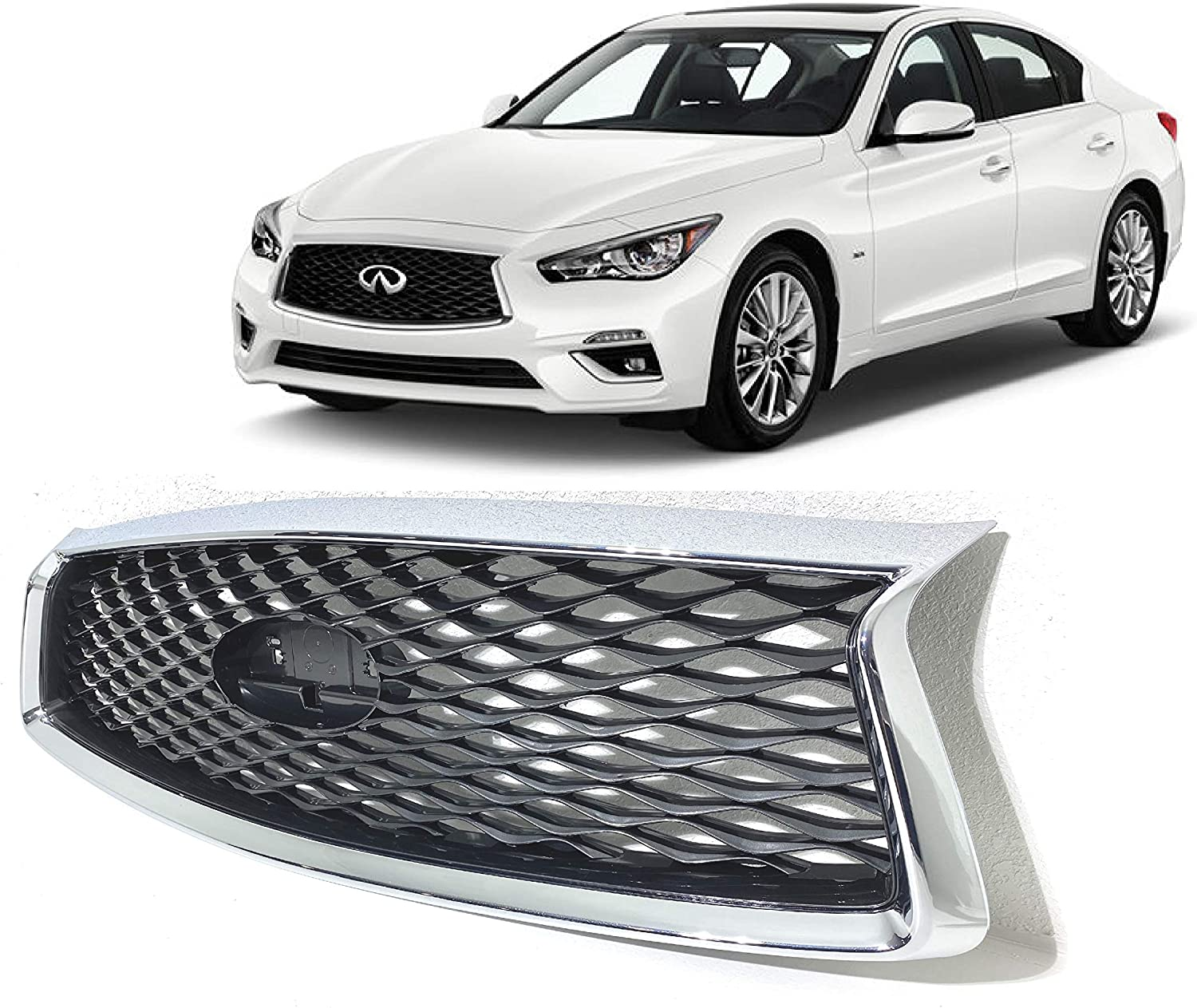 New Fits 2018 2019 開店祝い 2020 Infiniti Without 代引き不可 Grill Upper Grille Q50