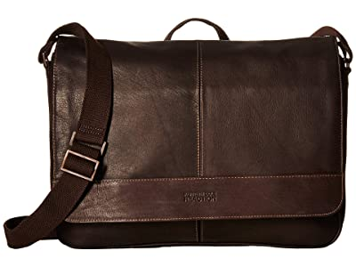 Kenneth Cole Reaction Colombian Leather 15 RFID Messenger Bag (Brown) Handbags