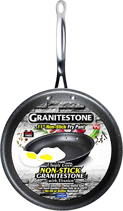 GRANITESTONE Non Stick No Warp Mineral Enforced Frying Pans PFOA Free As Seen On TV 11 Inch