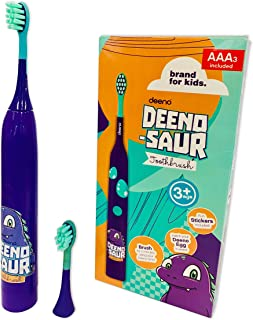 Deeno DEENO-Saur Electric Toothbrush Powered by AAA Batteries Included | Purple Colour | Suitable for Ages 3+ Years | 3 Brushing Modes | Free Sticker Sheet & Deeno Toy