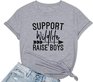 Support Wildlife Raise Boys Shirt Mother's Day T Shirt Cool Mom Life Graphic Tee Summer Casual Top