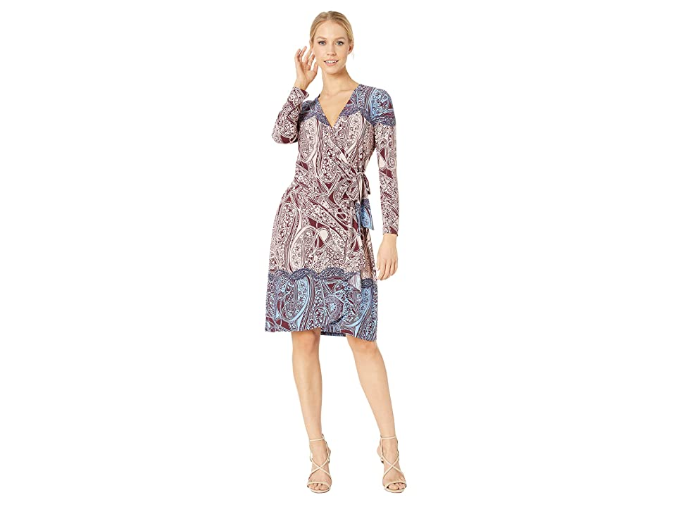 BCBGMAXAZRIA Adele Printed Wrap Dress (Port Combo) Women