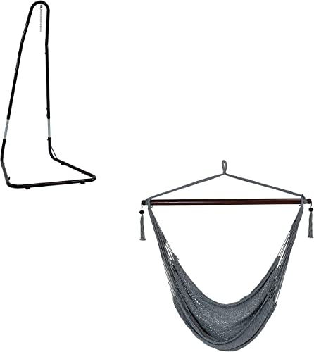 new arrival Sunnydaze high quality XL Gray Hanging Polyester Rope Caribbean Hammock Chair and 79- to 93-Inch outlet sale Tall 330-Pound Weight Capacity Heavy-Duty Hanging Chair Stand Bundle outlet sale