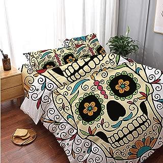 Sugar Skull Decor Comfortable 4 Piece Bedding Set,Catrina Calavera Featured Figure Ornaments Macabre Remember The Dead Decorative for Bedroom,Double Side Print:Double