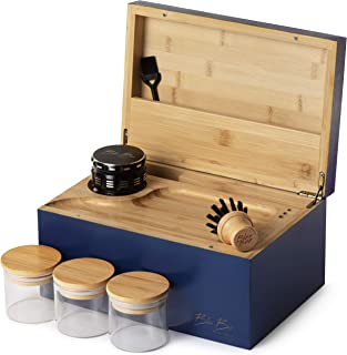 Large Stash Box 100% Bamboo - Smell Proof - Sliding Rolling Tray w/Brush - 3 Airtight Containers - Herb Grinder - Handcraf...