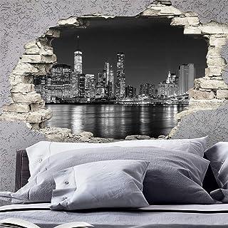 Stickers Adhésifs Effet 3D | Sticker Autocollant New York Skyline    Décoration Murale Trompe Lu0027