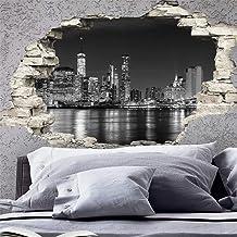 Adesivo Effetto 3D  Stickers Skyline di New York - Decorazione da pareti camere e soggiorni - 60 x 90 cm