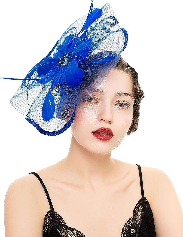 Vintage Flower Mesh Feathers Fascinators Hat for Women Kentucky Derby Cocktail