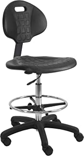 """BenchPro Deluxe Polyurethane Chair With 18"""" Adjustable Footring and Heavy Nylon Base , 21""""-31"""" Height Adjustment, 450 lbs Capacity"""