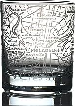 Greenline Goods Whiskey Glasses - 10 Oz Tumbler for Philadelphia Lovers (Single Glass) | Etched with Philadelphia Map | Ol...