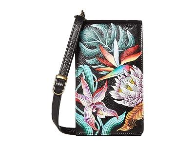 Anuschka Handbags Smartphone Crossbody 1154 (Island Escape Black) Handbags