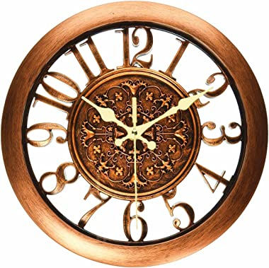 Foxtop Kitchen Wall Clock, Battery Operated Silent Non Ticking Round Retro Quartz Decorative Contour Clocks for Living Room H