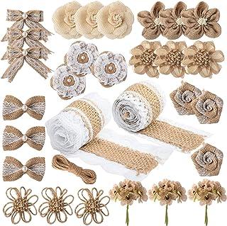 Pajaver 27 Stück Handgemachte Natürliche Sackleinen Blumen, Rose Blumen Sackleinen, Sackleinen Spitze Blumen mit Perlen, 9 Arten, für Hochzeitsfeier Dekoration DIY Arts Craft Blumenhandwerk Machen