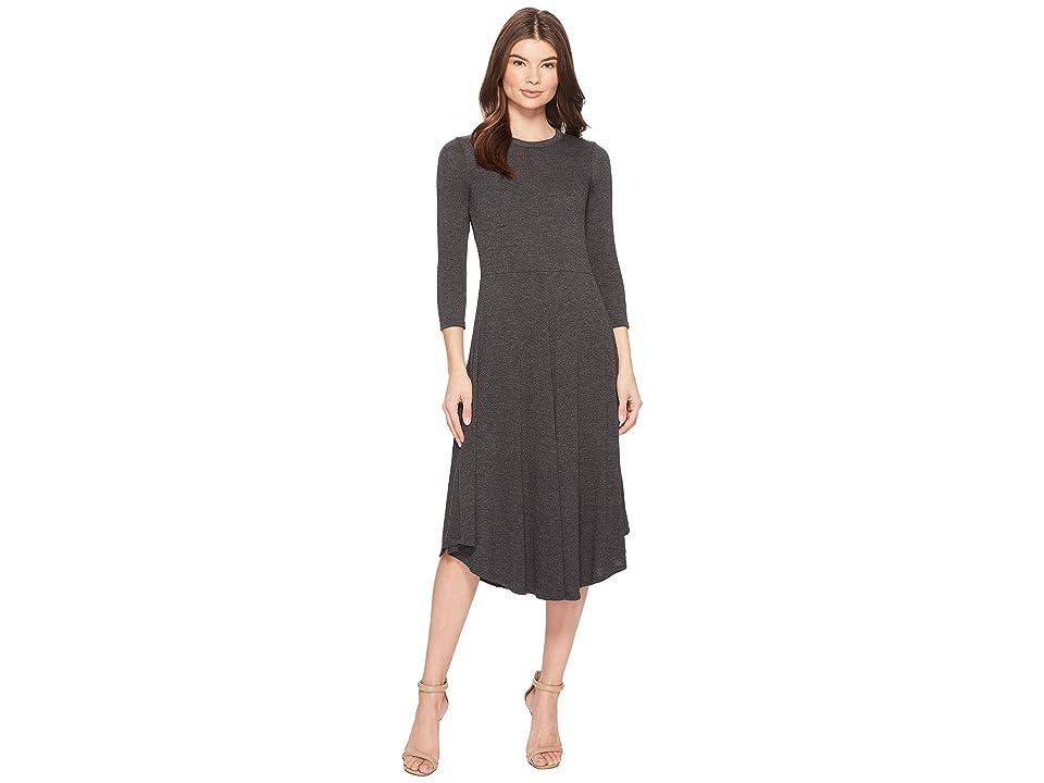 Three Dots Melange Sweater 3/4 Sleeve Dress (Charcoal) Women