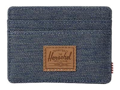 Herschel Supply Co. Charlie RFID (Indigo Denim Crosshatch/Saddle Brown) Wallet Handbags