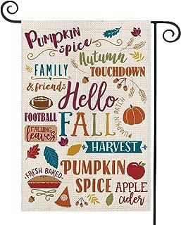 AVOIN Fall Activities Garden Flag Vertical Double Sized, Seasonal Autumn Football Leaves Pumpkin Apple Family Friend Burlap Yard Outdoor Decoration 12.5 x 18 Inch