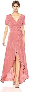 JOA Women's Tie Waist Hi-Low Wrap Dress