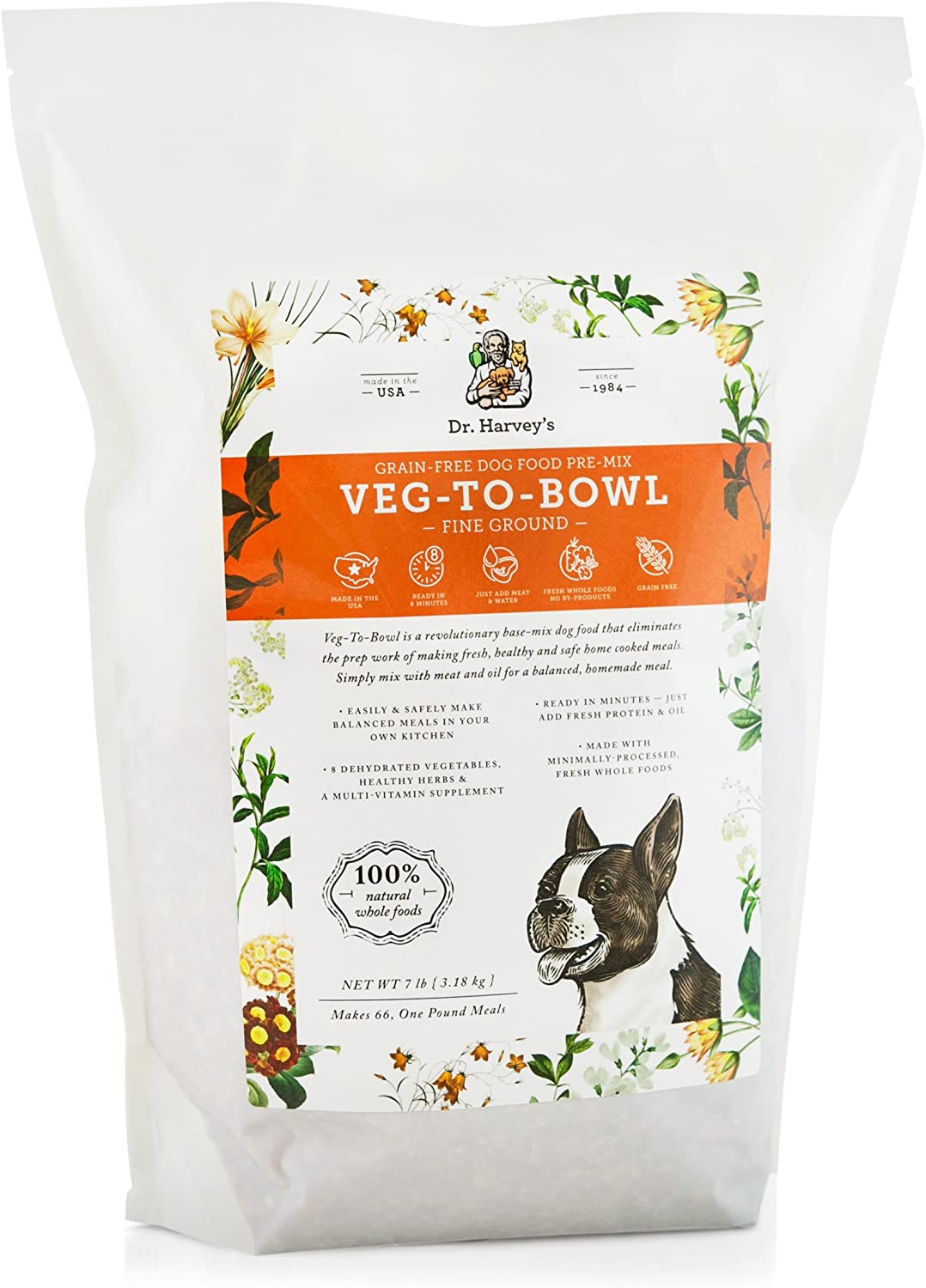 Dr. Harvey's VegtoBowl Fine Ground Dog Food, Human Grade Dehydrated Base Mix for Dogs, Grain Free Holistic Mix for Small Dogs or Picky Eaters