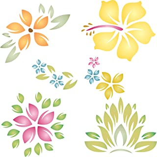 """Tropical Flowers Stencil - (size 6.5""""w x 6.5""""h) Reusable Wall Stencils for Painting - Best Quality Template Allover Wallpaper ideas - Use on Walls, Floors, Fabrics, Glass, Wood, and More…"""