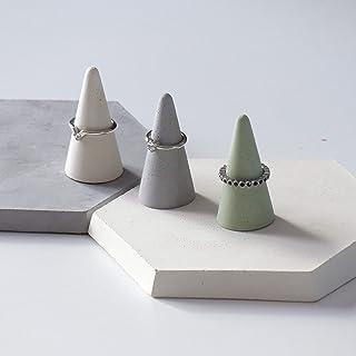 Atelier Ideco - 3 Conos de Hormigón de Joyería Verde, Blanco Y Gris, Pantalla Anillos de Soporte Diseñador de Joyas, Anill...