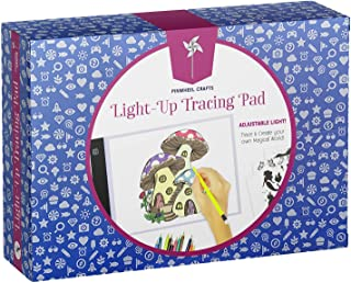 Pinwheel Crafts Light-Up Tracing Pad for Kids, Provides Ultra Bright LED Light for Easy Tracing, Includes 10 Fun Tracing Designs, 12 Colored Pencils