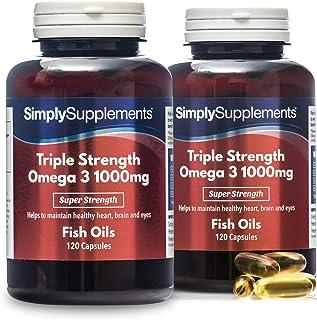 Omega 3 1000mg Triple acción - ¡Bote para 8 meses! - Extra fuerte - 240 cápsulas - Con un alto contenido