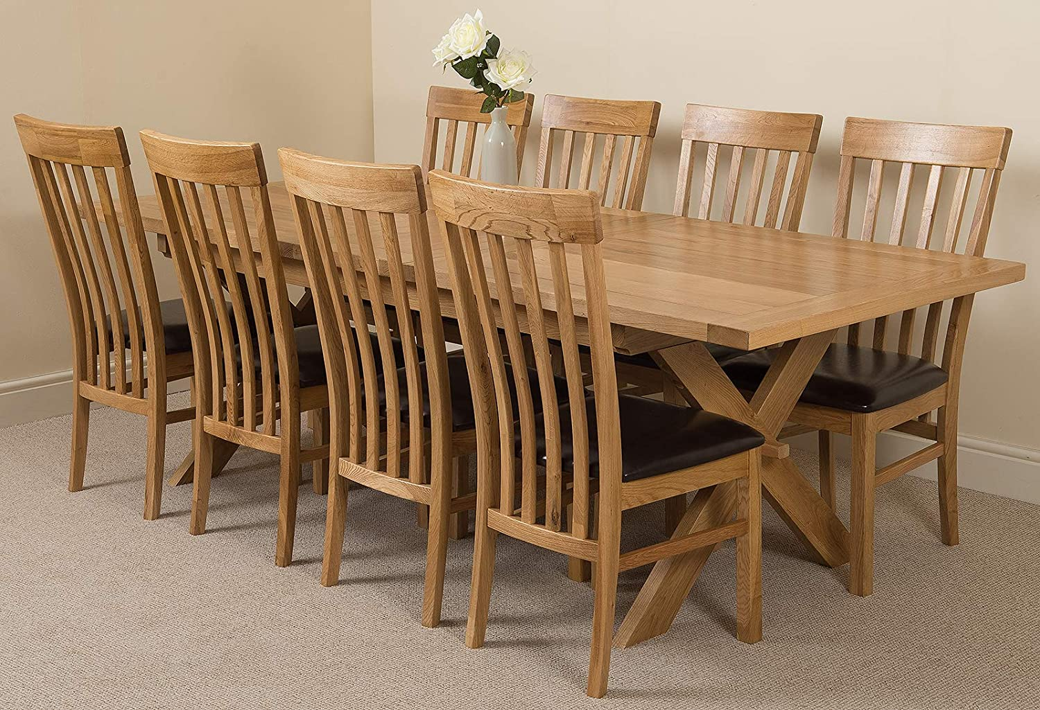 Vermont 9 9 cm Extendable Large Oak Dining Table with 9 Chairs ...