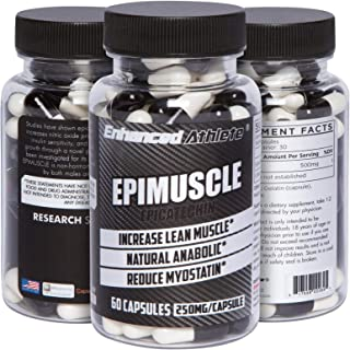 Enhanced Athlete Epimuscle - Natural Anabolic, Increase Lean Mass, Reduce Myostatin, 250mg Pure Epicatechin/ 60 Capsules
