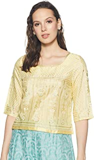W for Woman Women's Rayon straight Salwar Suit Set (19FEWS12344-112538_ Yellow_ 10)