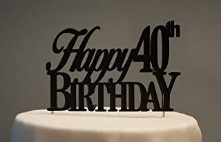 Black Happy 40th Birthday Cake Topper