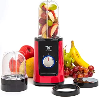 Moss & Stone 2 in 1 Personal Blender with Additional Blender Cups, Smoothie Bullet Blender Maker for Frozen Fruit, Baby Fo...