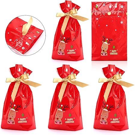 5pcs Noël Sacs réutilisables avec cordon de serrage Wrap Cadeau Cadeau De Noël Sac de rangement
