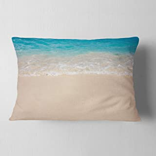 Designart Serene White and Blue Waters' Seashore Throw Lumbar Cushion Pillow Cover for Living Room, sofa 12 in. x 20 in