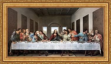 FOREVER Leonardo da Vinci The Last Supper Framed Canvas Giclee Print - Finished Size (W) 49.1'' x (H) 28.1'' [Gold] (V03-12K-MD535-01)