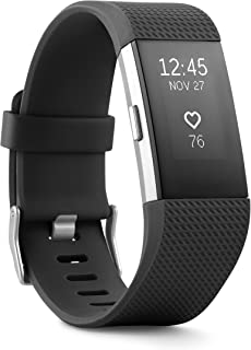Fitbit Charge 2 Band- Black Silver, Large