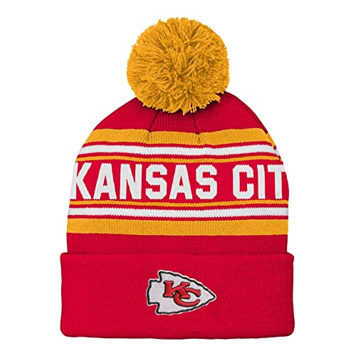 NFL Boys Kids   Youth Boys Jacquard Cuffed Knit Hat with Pom 1880bb78b6bb