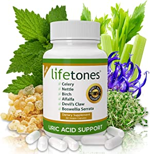 Lifetones Uric Acid Support Vitamins for Men and Women - Uric Acid Herbal Cleanse Detox - for Joint Comfort, Muscle Pain Relief, and Kidney Support - Non-GMO, Gluten Free - 60 Count