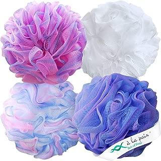 Loofah Bath Sponge XL 75g Set of 4 Pastel Colors by À La Paix - Soft Exfoliating Shower Lufa for Silky Skin - Long-Handle Mesh Body Poufs- Women and Men's Luffas - Lush Texture - Full Cleanse & Lather