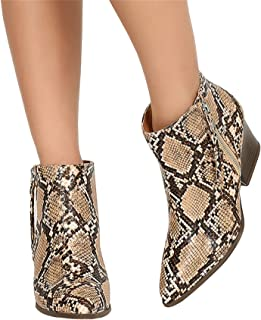 Mafulus Womens Snakeskin Booties Pointed Toe Stacked Chunky Heel Side Zipper Winter Ankle Boots