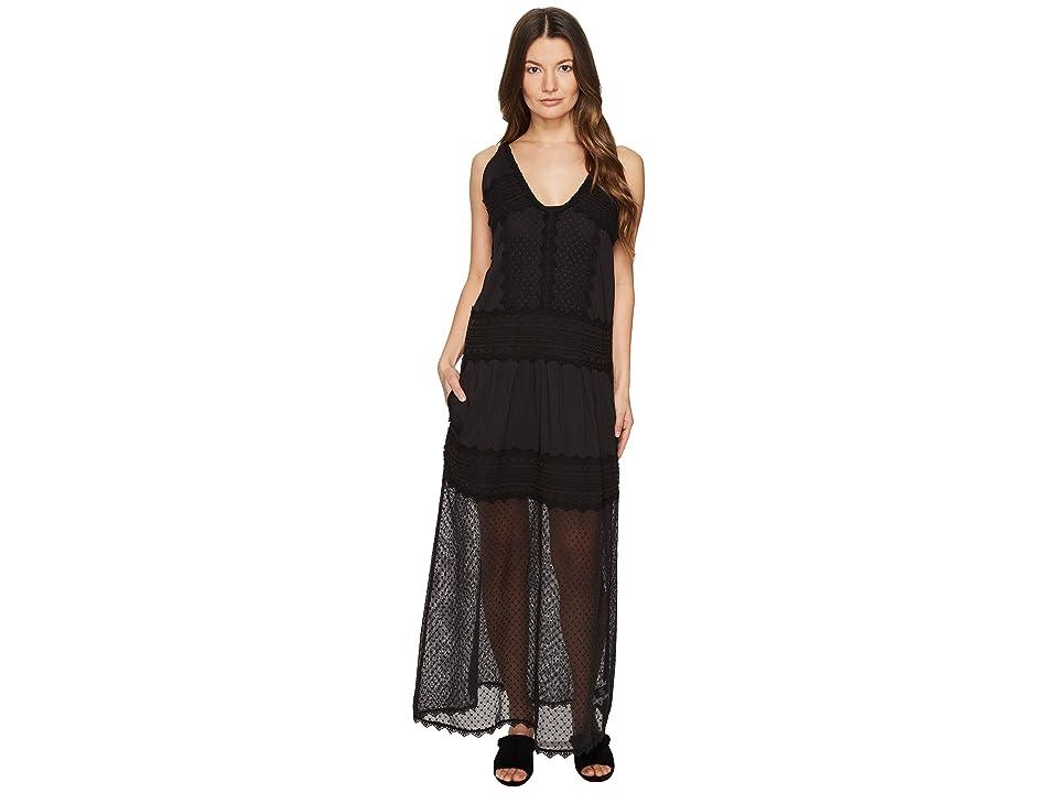 Just Cavalli Sleeveless Long Lace Sheer Dress (Black) Women