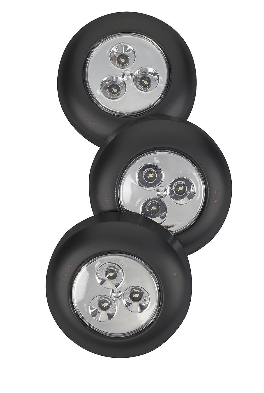 LIGHT IT by Fulcrum 30010-303 3 LED Wireless Stick-On Tap Light, 3 Pack, Black