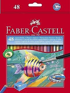 Faber-Castell – Kartonetui mit Aquarellstiften und Pinsel 48 Ecolápices bunt