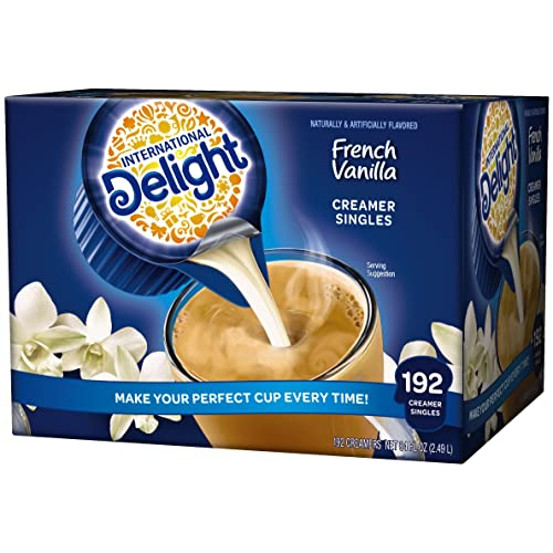 International Delight, French Vanilla, Single-Serve Coffee Creamers, 192 Count (Pack of 1), Shelf Stable Non-Dairy Flavored Coffee Creamer, Great for Home Use, Offices, Parties or Group Events